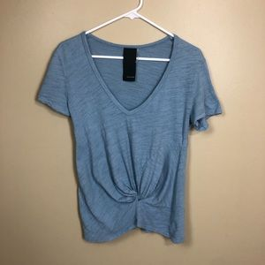 Heather Knotted Twist Front Short Sleeve Tee J874
